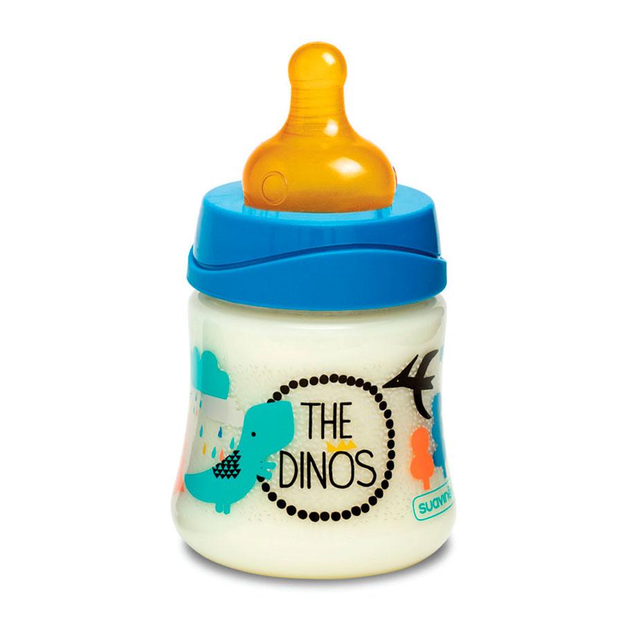 Бутылка Suavinex 150 мл от 0 мес с круглой латексной соской 3 потока, синий динозавр