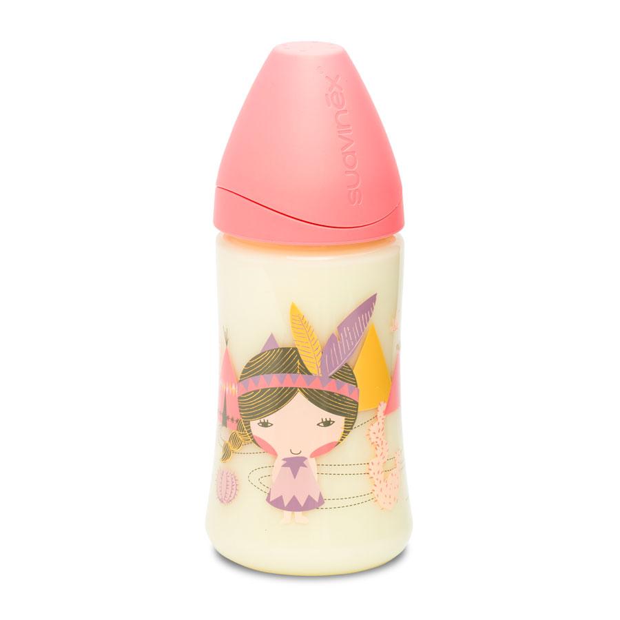 Бутылка Suavinex 270 мл от 0 мес с круглой латексной соской 3 потока, розовый индеец