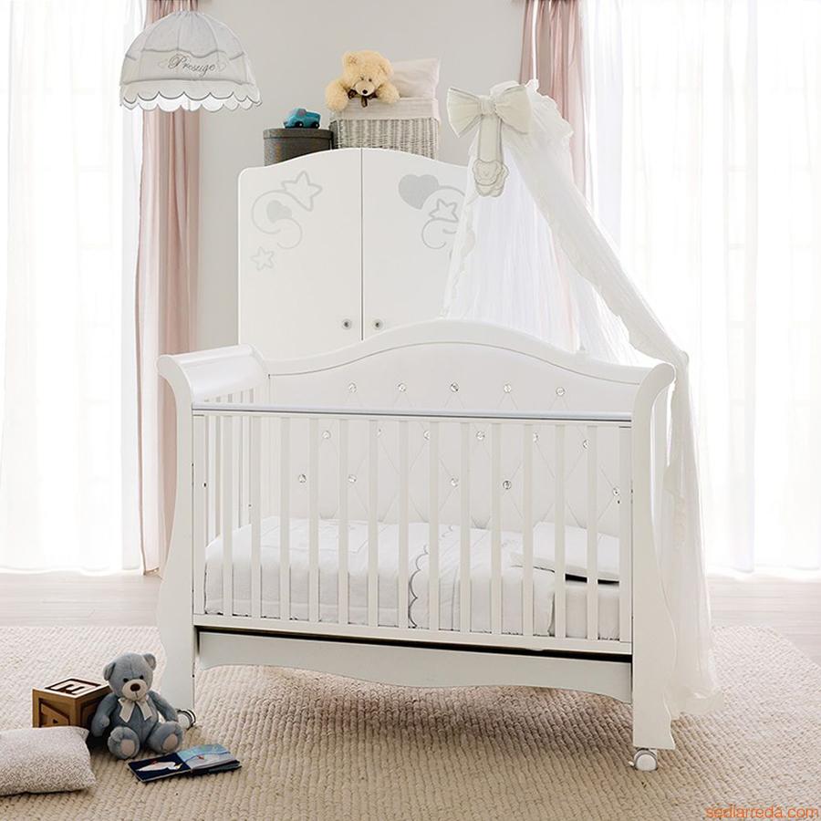 Кровать Pali Vittoria белый с кристалламиКровати для новорождённых<br><br>