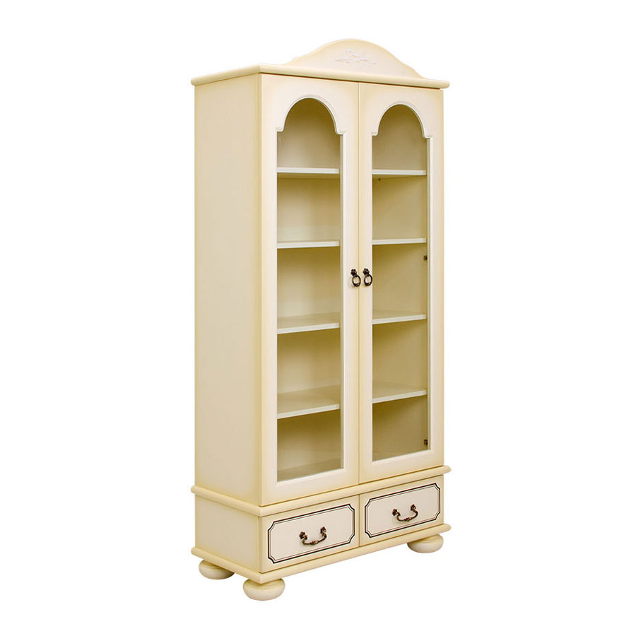 Шкаф книжный со стеклом Woodright Willie Winkie Brigantine ivoryШкафы, стеллажи<br><br>