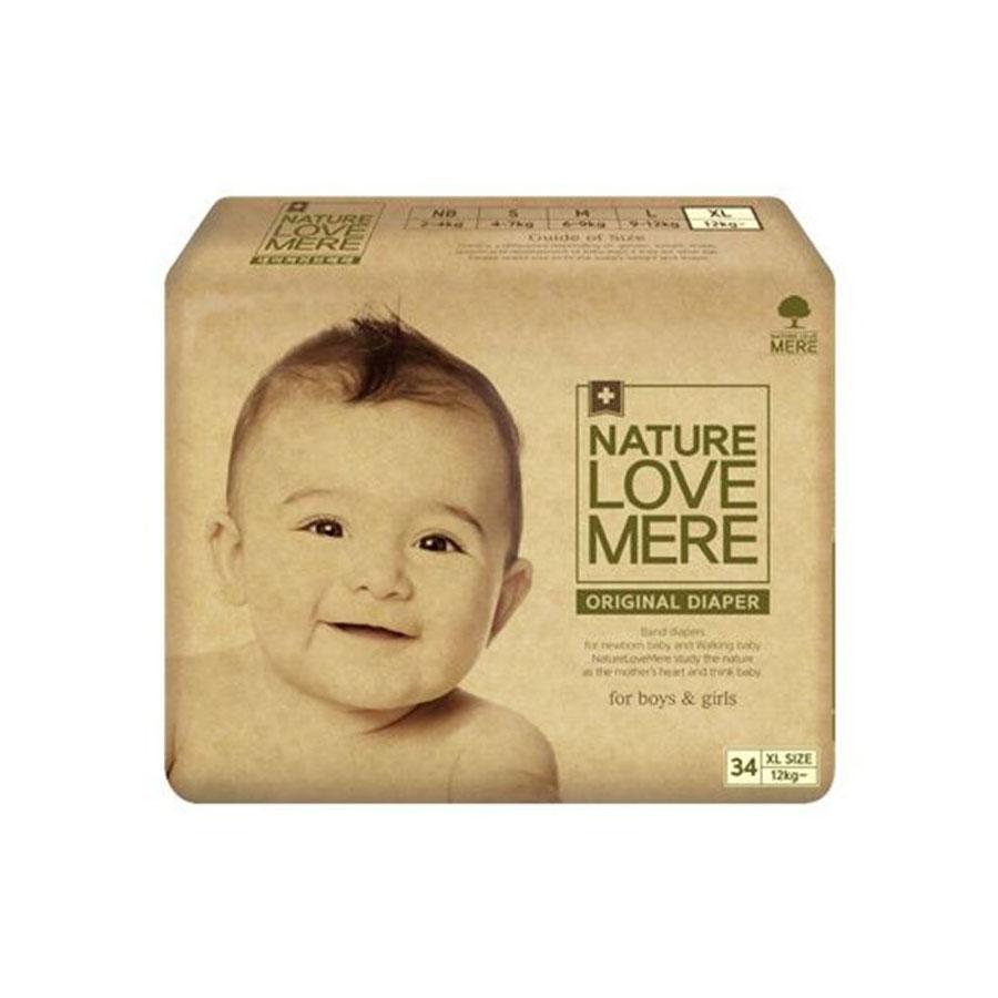 Подгузники Nature Love Mere original Basic Diaper Xl от 12кг 34шт. бежевая упаковка