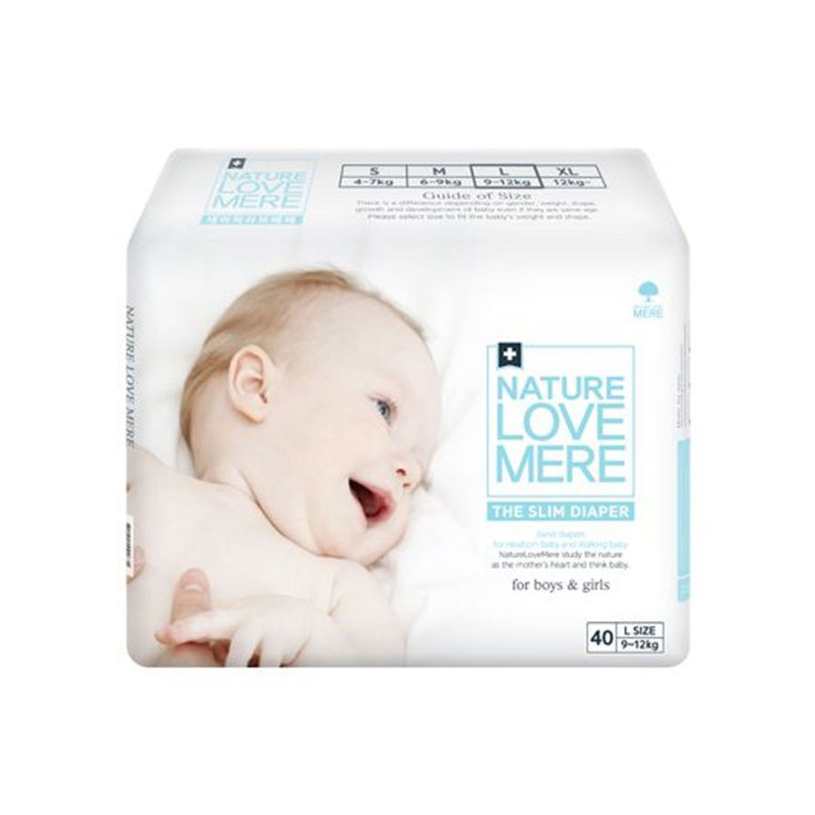 Подгузники Nature Love Mere Gold Diaper L 9-12кг 40шт. белая коробка