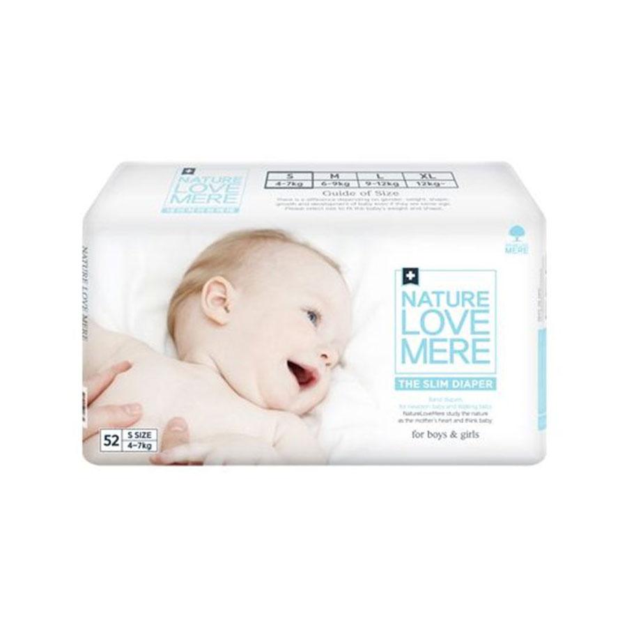 Подгузники Nature Love Mere slim Premium DiaperS 4-7кг, 52шт. белая упаковка