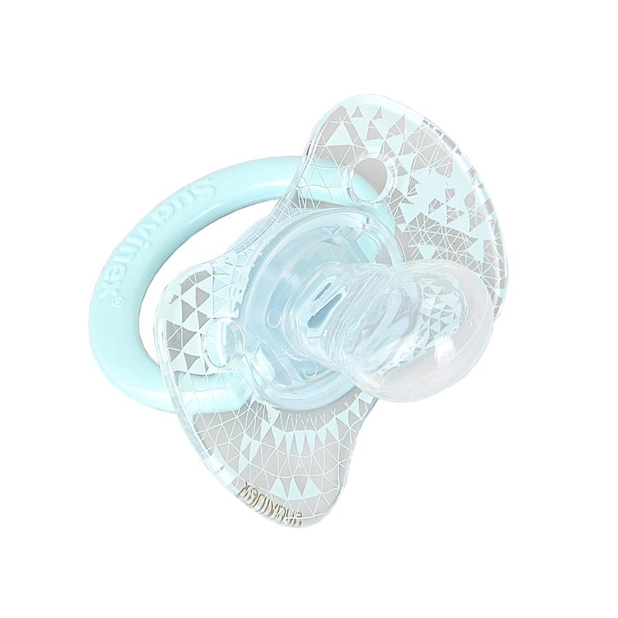 Пустышка Suavinex Haute Couture от 4 мес., физиологическая, силикон, голубая