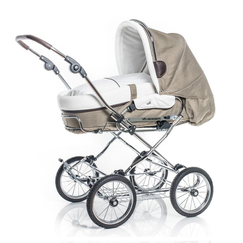 Купить Коляска 2 в 1 Hesba Condor Coupe Lux + сумка, ткань/кожа, бежевый/белый, Нет цвета, см. на упаковке