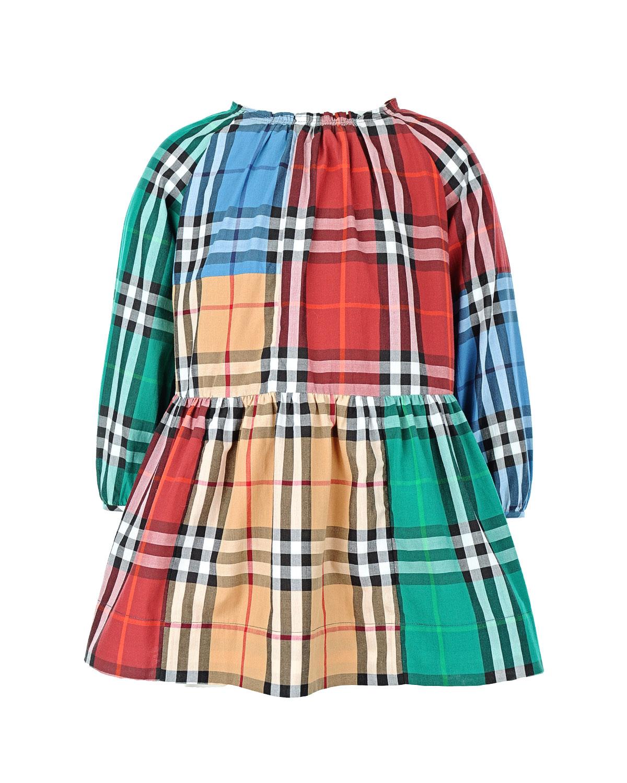 Платье с длинными рукавами в клеткуПлатья, Сарафаны<br><br>
