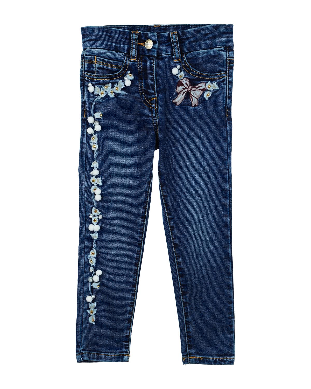 Купить со скидкой Брюки джинсовые Monnalisa для девочек