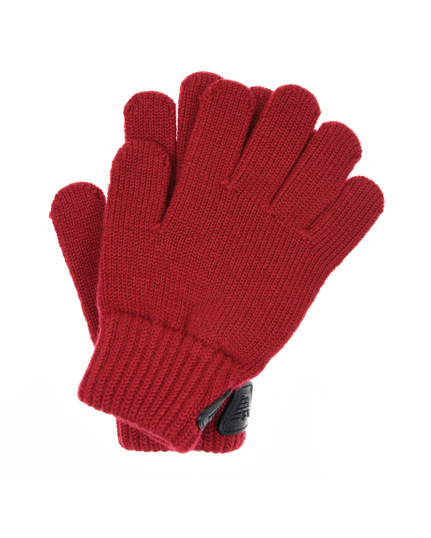 Красные вязаные перчатки Emporio Armani