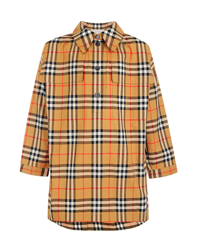Платье-рубашка в клетку Vintage Check Burberry детское фото