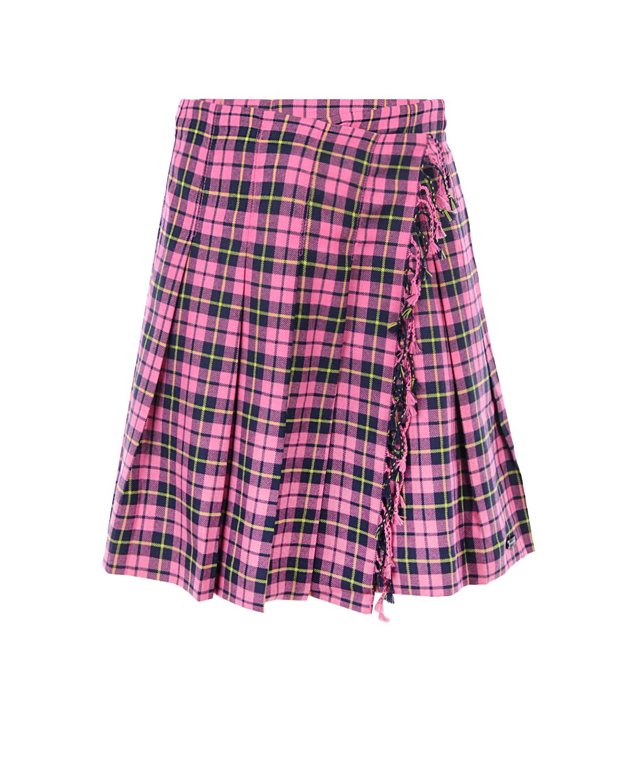 Купить Юбка Burberry в клетку детская, Розовый, 100%шерсть, 100%полиэстер