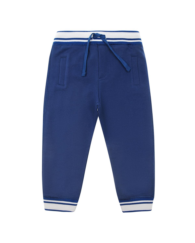 Купить Спортивные брюки с контрастной отделкой Dolce&Gabbana детские, Синий, 100%хлопок, 96%хлопок+4%эластан