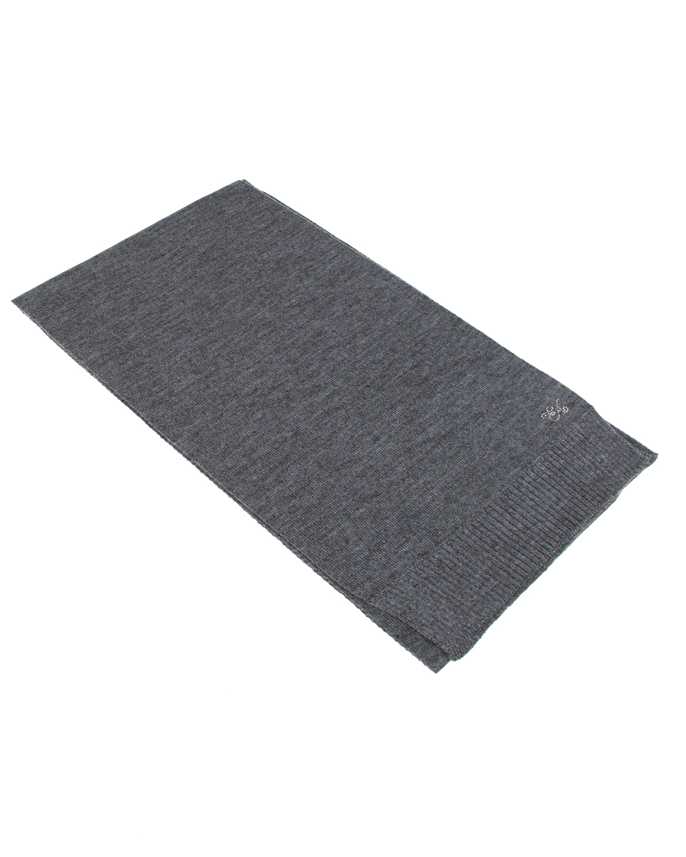 Серый шарф с декоративным логотипом Emporio Armani