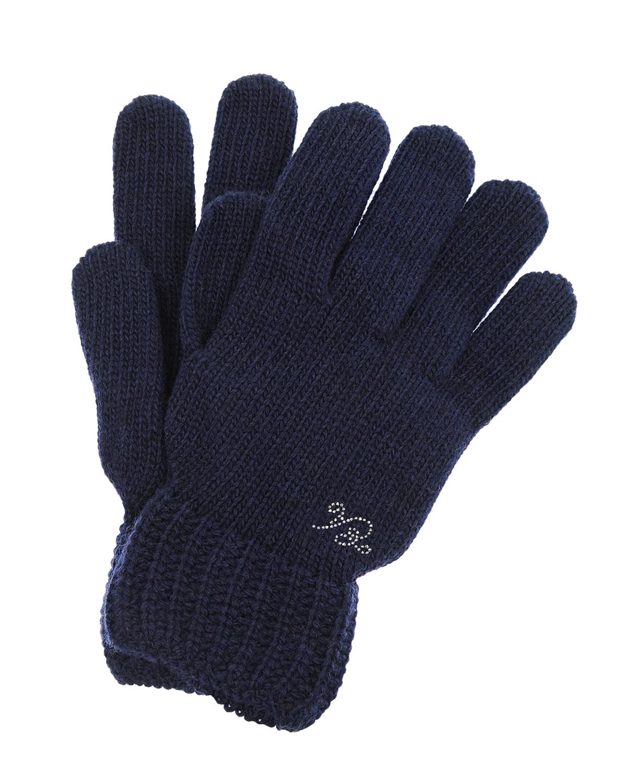 Темно-синие вязаные перчатки Emporio Armani