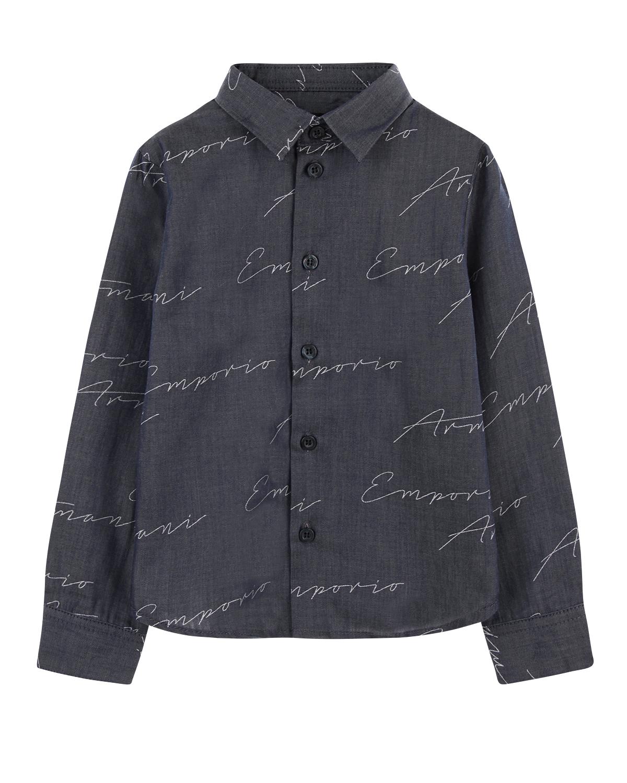Купить Рубашка Emporio Armani детская, Синий, 100%хлопок