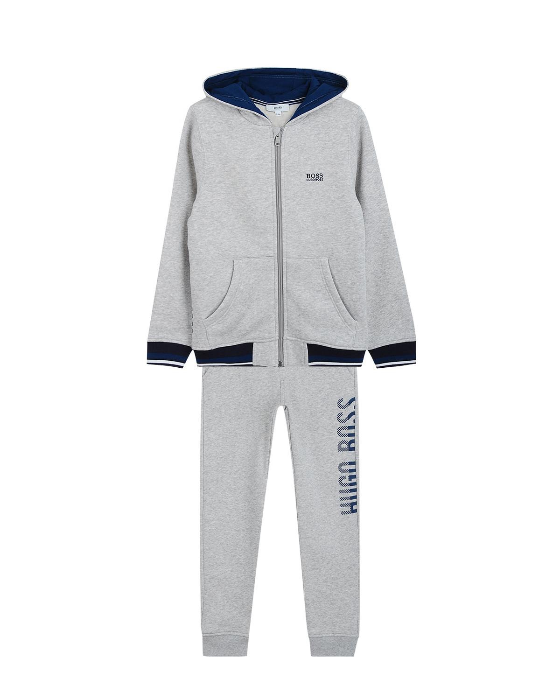 Купить Костюм спортивный Hugo Boss детский, Серый, 100%хлопок, 98%хлопок+2%эластан, 87%хлопок+13%полиэстер
