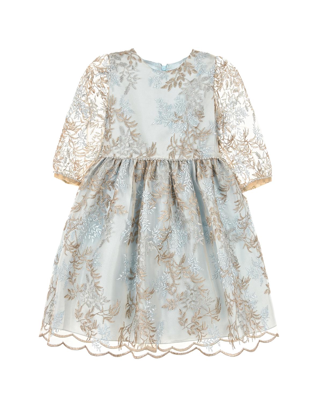 Платье с вышивкой и фигурным подолом Lesy