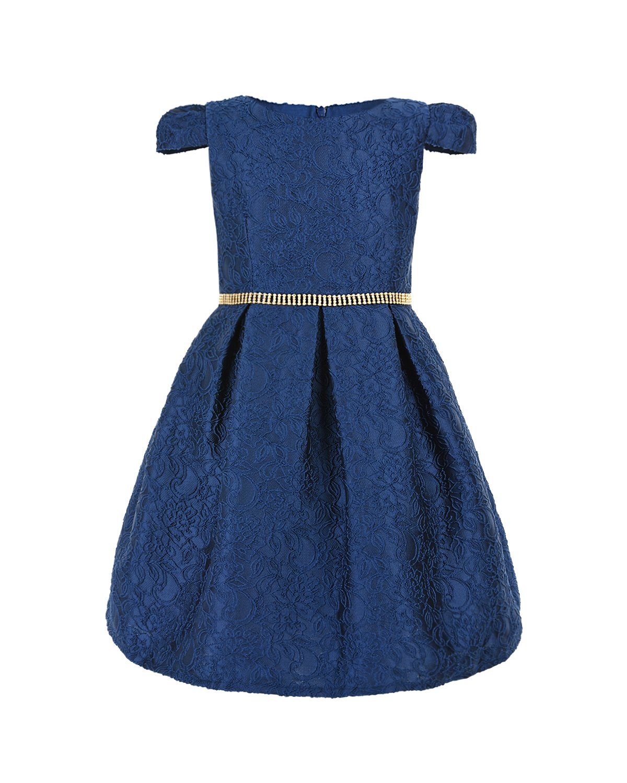 Купить Жаккардовое платье с отделкой из страз Lesy детское, Синий, 73%полиэстер+17%акрил+10%шелк. 65%полиэстер+35%хлопок, 100%полиамид. 100%нейлон