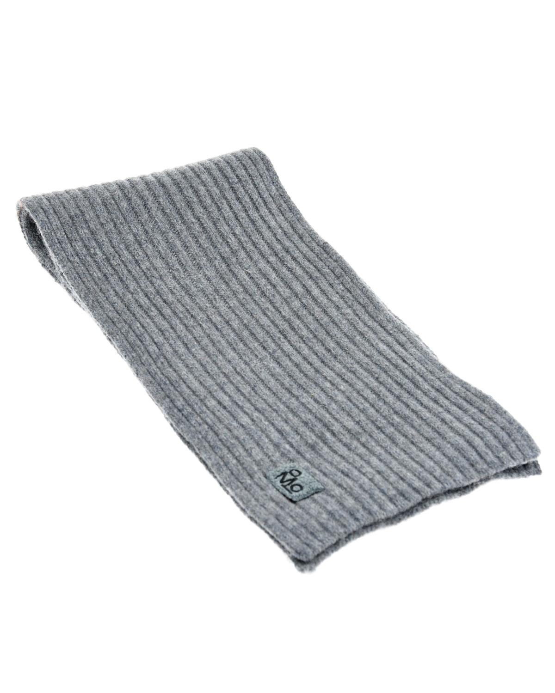 Купить Шарф фактурной вязки с логотипом Molo детский, Серый, 80%шерсть+20%акрил