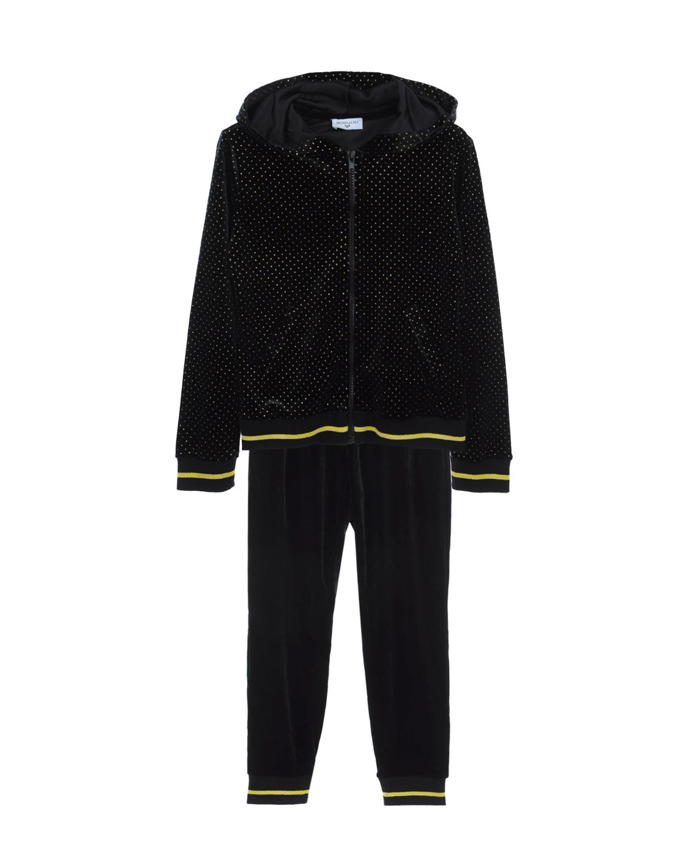 Спортивный костюм из толстовки и брюк Monnalisa детский, Черный, 95%полиэстер+5%эластан, 75%хлопок+25%эластан  - купить со скидкой