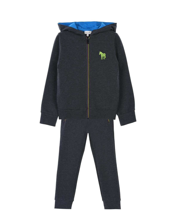 Купить Спортивный костюм из толстовки и брюк Paul Smith детский, Серый, 100%хлопок, 71%хлопок+23%полиэстер+3%другие волокна+3%эластан. 71%хлопок+23%полиэстер+3%эластан+3%вискоза