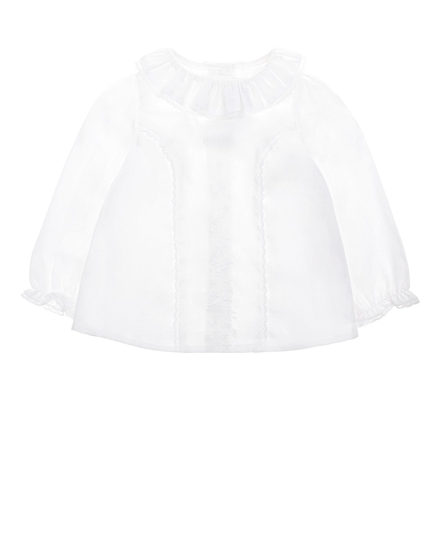 Купить Рубашка с вышивкой и кружевной отделкой Tartine et Chocolat детская, Белый, 100%хлопок
