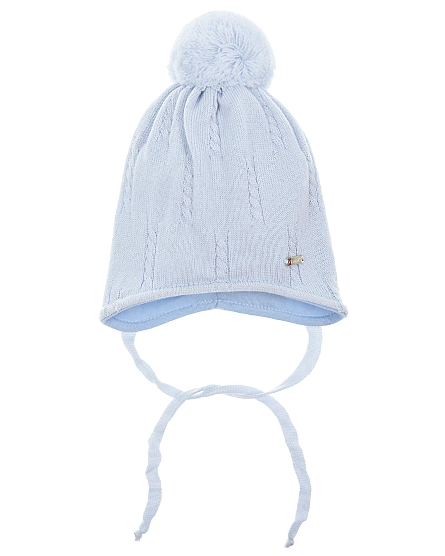 Купить Шапка Il Trenino детская, Голубой, 100%шерсть, нат.мех
