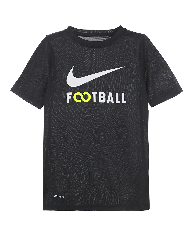 Футболка Dri-FIT с логотипом NikeФутболки, Майки, Поло<br>Футболка Nike выполнена из черного мягкого текстиля. Ткань, выполненная по технологии Dri-FIT, отлично дышит, и при этом  прекрасно отводит влагу. Модель классического кроя с короткими рукавами и округлым вырезом украшена логотипом и принтом с надписью «Football». Прекрасный вариант для активного отдыха или создания непринужденного повседневного образа.