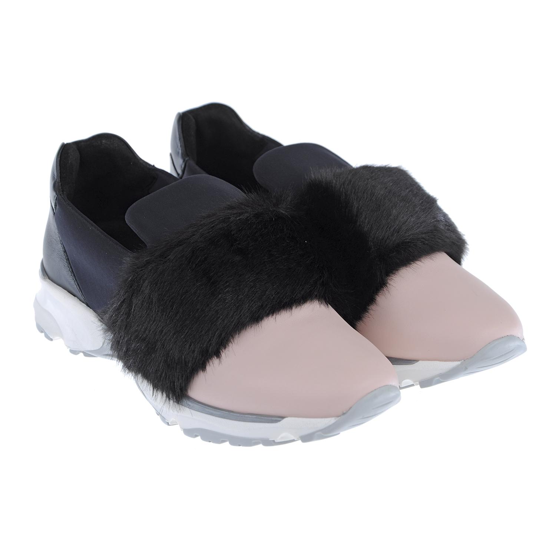 Комбинированные кроссовки с меховой отделкой Emporio Armani