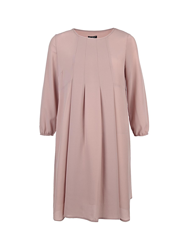 Платье для беременныхПлатья<br>Свободное платье-трапеция для беременных ATTESA из фактурной ткани красивого пудрово-розового оттенка. Модель с рукавами-«фонариками» длиной 3/4, собранными на тонкую резинку. Круглый вырез горловины с отделкой в тон.