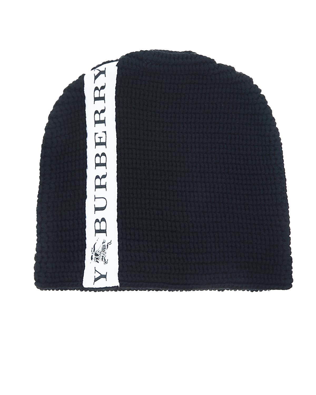 Шапка BurberryШапки<br>Черная шапка Burberry из мериносовой шерсти. Шапка декорирована контрастной полосой с логотипом.