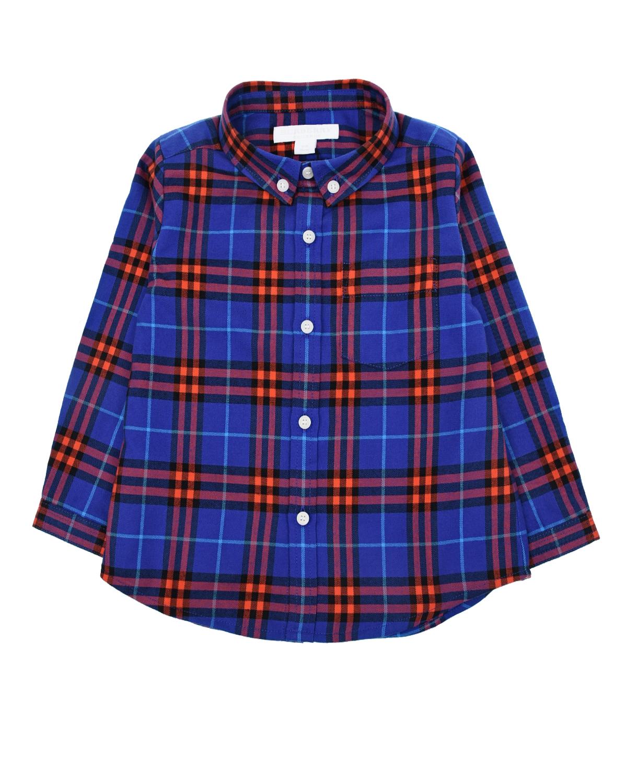 Фланелевая рубашка Burberry в клеткуБлузы, Рубашки, Туники<br>Фланелевая рубашка Burberry в фиолетово-красную клетку. Модель прямого кроя, с отложным воротником, длинными рукавами с манжетами и одним накладным нагрудным карманом. Рубашка застегивается на пуговицы.