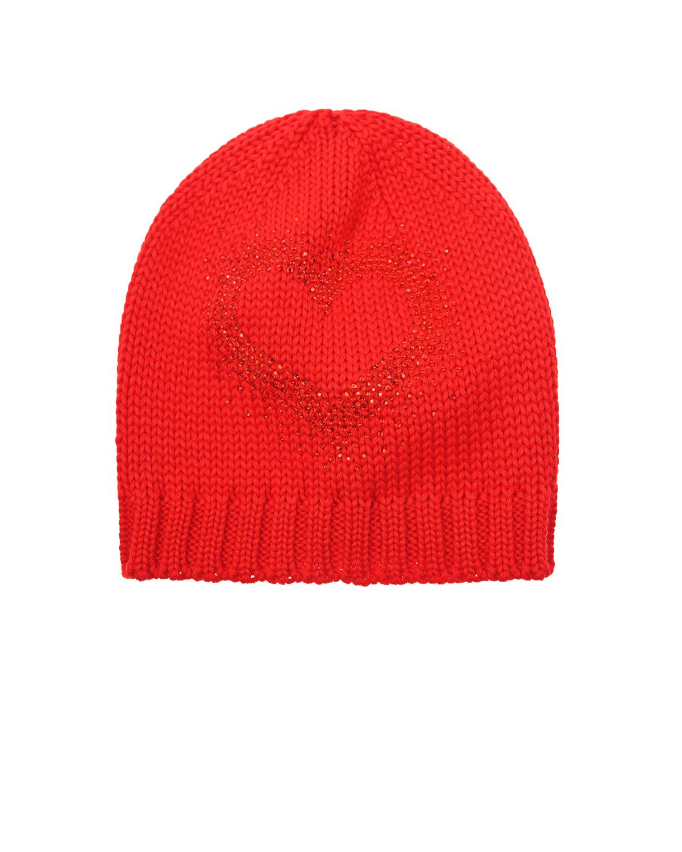 Шапка CatyaШапки<br>Красная вязаная шапка Catya из натуральной шерсти. Шапка декорирована изображением сердца из стразов.