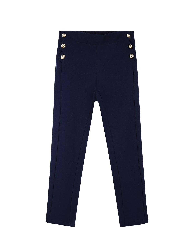 Брюки ChloeБрюки<br>Зауженные книзу брюки CHLOE в стиле милитари глубокого темно-синего оттенка. Модель с высокой посадкой. По бокам фигурные застежки на металлические пуговицы.