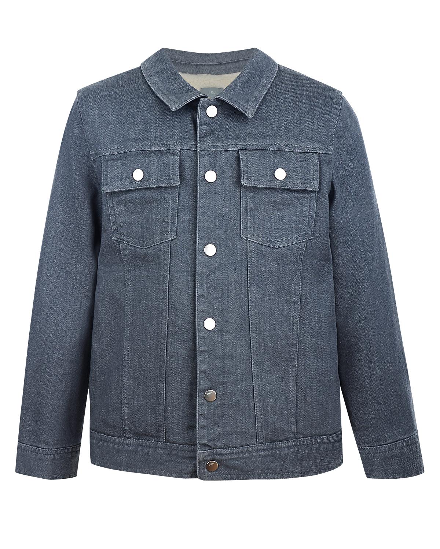 Джинсовая куртка с теплой подкладкойДжинсовые куртки и жилеты<br>Джинсовая куртка Dior выполнена из серого эластичного денима. Внутри — теплая шерстяная подкладка. Модель прямого кроя с двумя нагрудными карманами застегивается на кнопки. Левый рукав украшен монограммой «D».