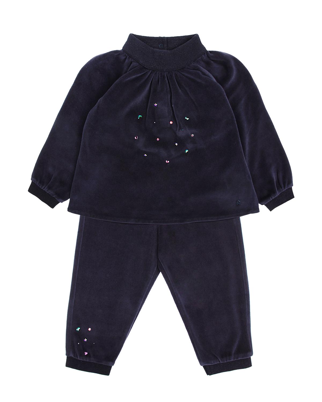 Костюм спортивный DiorСпортивная одежда<br>Темно-синий спортивный костюм Dior из велюра. Куртка свободного кроя, с эластичным воротником стойко и  длинными рукавами с манжетами. Застегивается на спине на кнопки. Брюк с манжетами и эластичным поясом. Костюм декорирован стразами.