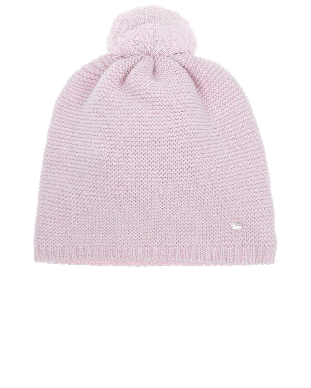 Шапка DiorШапки<br>Дымчато-розовая с добавлением металлизированной нити шапка DIOR с помпоном. Вязаная резинка по краю шапки комфортно облегает голову. Спереди декоративный элемент с логотипом бренда.
