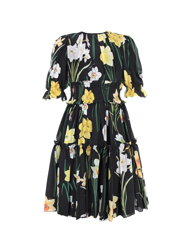 Шелковое платье с ярусной юбкой Dolce&Gabbana