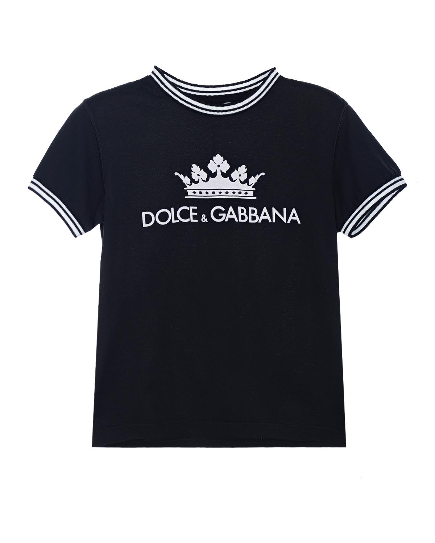 Черная футболка с контрастным декором Dolce&Gabbana