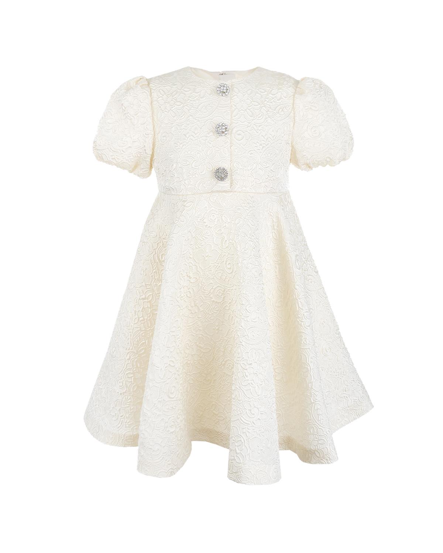 Платье Dolce&GabbanaПлатья, Сарафаны<br>Белое жаккардовое платье DolceGabbana. Модель отрезная по талии, с круглым вырезом и короткими рукавами-фонариками. Платье декорировано пуговицами из стразов. Застегивается на спине на потайную молнию.