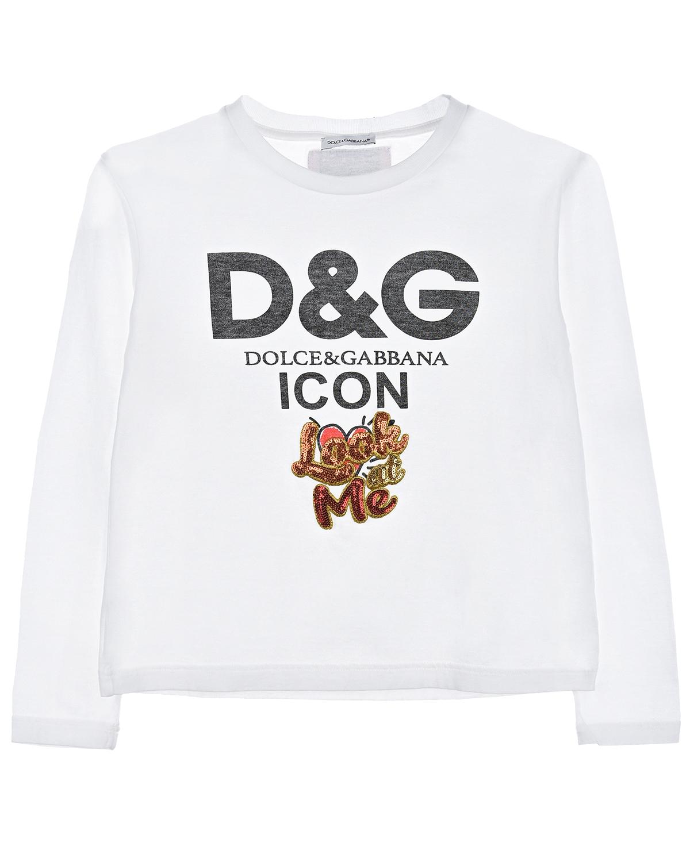 Купить Толстовка из хлопка с принтом и пайетками, Dolce&Gabbana