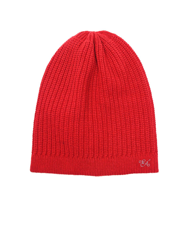 Шапка Emporio ArmaniШапки<br>Красная шапка вязаная Emporio Armani из смесовой шессти с добавлением кашемира. Модель декорирована логотипом из страз.