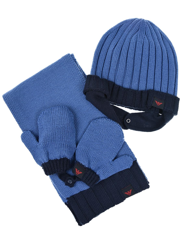 Купить Комплект из шапки, шарфа и варежек, Emporio Armani