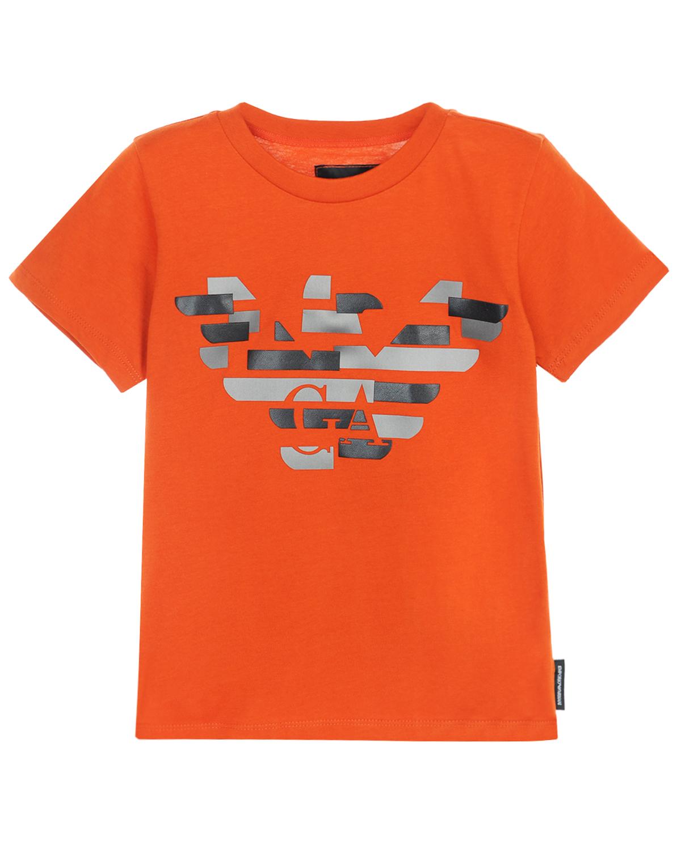 Футболка с короткими рукавами из хлопка Emporio ArmaniФутболки, Майки, Поло<br>Футболка Emporio Armani из хлопкового джерси темно-оранжевого цвета. Модель прямого кроя с короткими рукавами и круглым вырезом, отделанным эластичным трикотажем. Принт с эмблемой бренда дополнен объемными деталями.