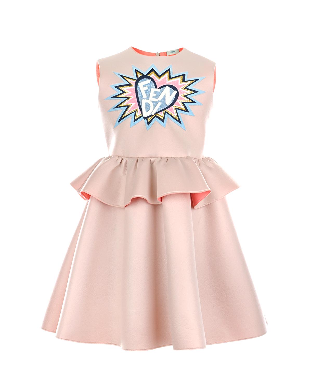 Платье без рукавов с вышивкой Fendi