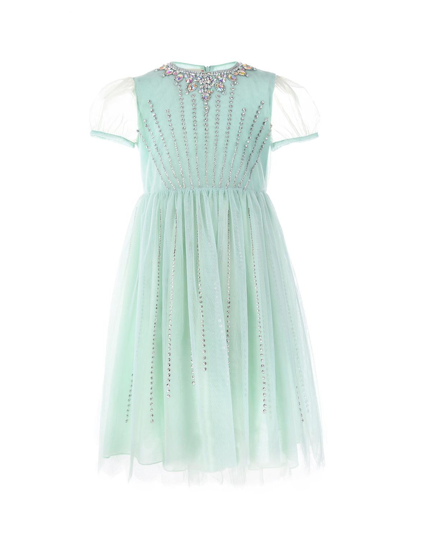 Купить Платье с рукавом-фонарик и стразами, GUCCI