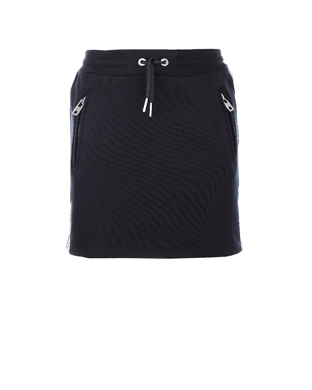 Мини-юбка с карманами и поясом-кулиской GivenchyЮбки<br>Короткая черная юбка Givenchy изготовлена из мягкого хлопкового джерси с добавлением нитей полиэстера. Спереди расположены два кармана на молнии. По бокам модель украшена атласными лентами с тонким белым кантом и вышитым логотипом бренда. Посадка на талии регулируется с помощью эластичного пояса и шнурка, продетого в кулиску.