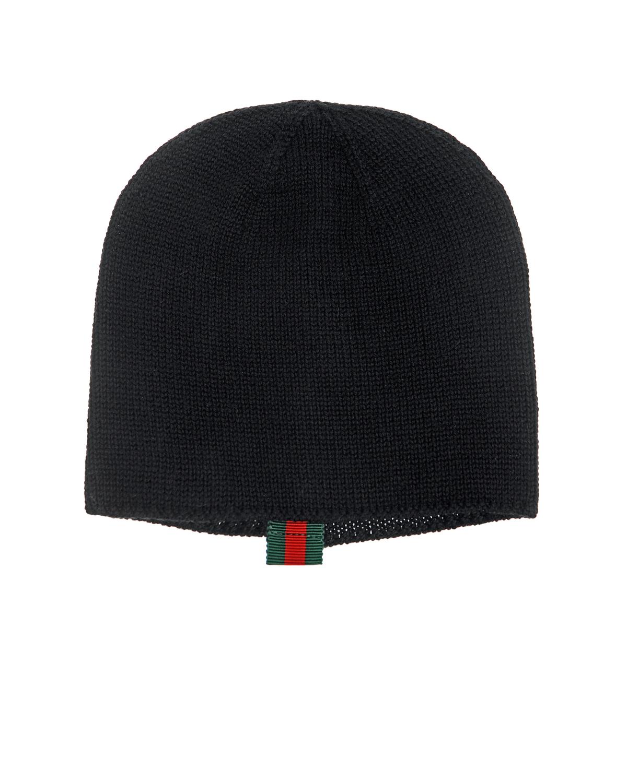 Шапка GUCCIШапки<br>Черная шапка GUCCI. Лаконичная модель из натуральной шерсти. Сзади  декоративный элемент из тесьмы в фирменных цветах бренда.