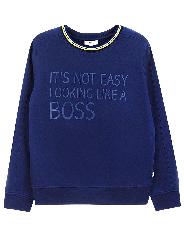 Джемпер Hugo BossСпортивная одежда<br>Синий спортивный джемпер Hugo Boss из хлопкового трикотажа. Модель с круглым вырезом и длинными рукавами с манжетами. Джемпер декорирован надписью «it's not easy looking like a BOSS».