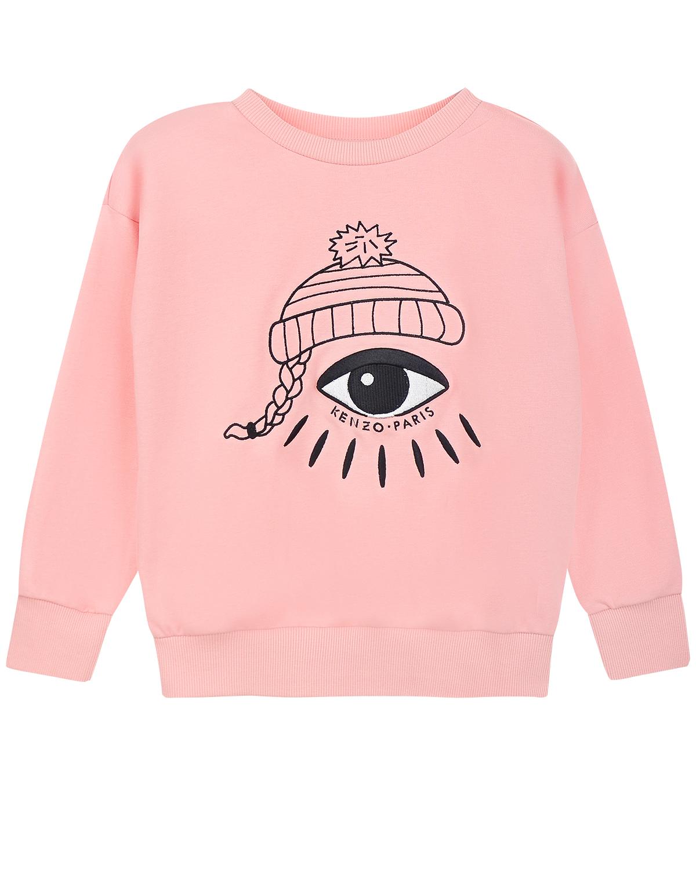 Свитшот KENZOТолстовки, Свитшоты<br>Розовый свитшот KENZO из хлопкового трикотажа. Модель прямого кроя, с круглым вырезом и длинными рукавами с манжетами. Свитшот декорирован принтом с изображением шапки с косой и глаза.