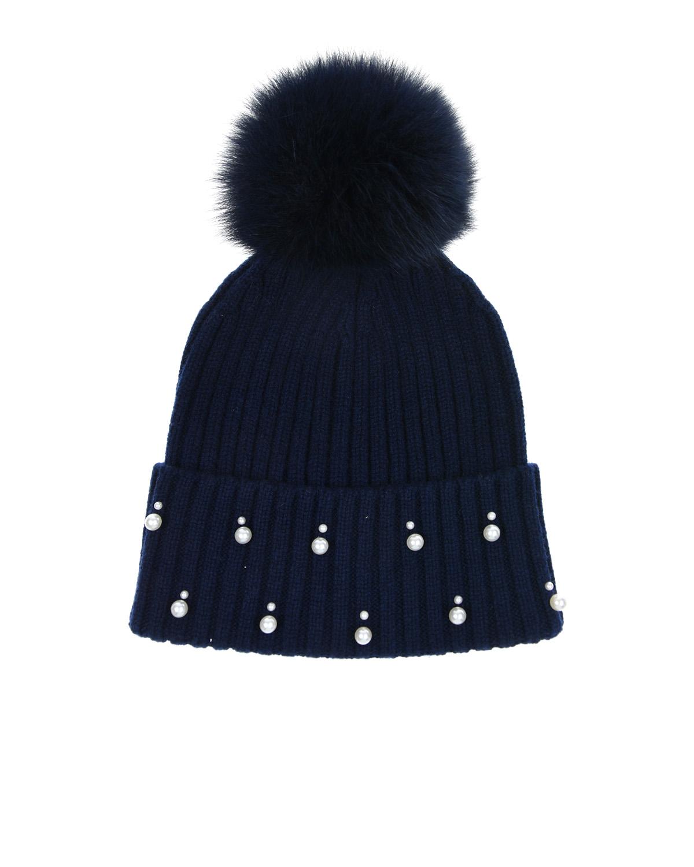 Шапка из кашемираШапки<br>Темно-синяя вязаная шапка La Perla из 100% кашемира. Модель с отворотом и меховым помпоном в тон. Шапка расшита жемчужными бусинами.